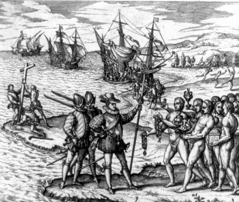 Christopher Columbus landing on Hispaniola