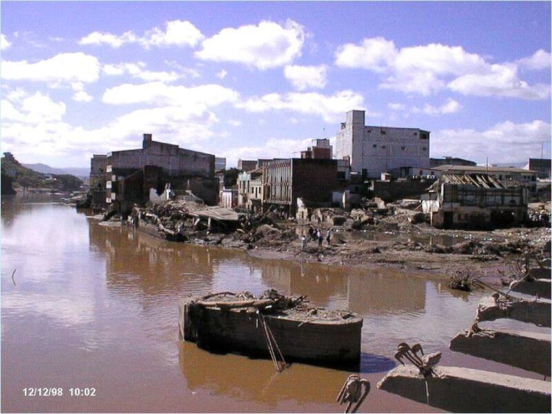 Part of the massive damage caused by Hurricane Mitch in Tegucigalpa, 1998
